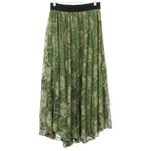 LuLaRoe Lace Maxi Skirt S Green Floral Rose